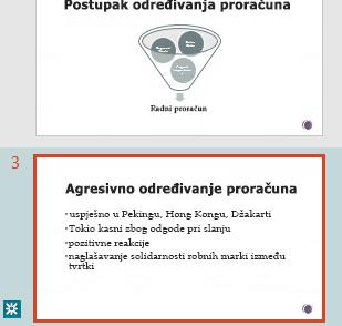 Isticanje revizija u oknu minijatura programa PowerPoint