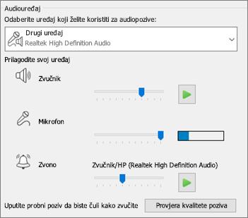 Prilagođene postavke – zvučnika, mikrofona, zvona – za audiouređaj