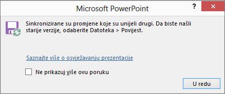 Prikaz poruke Sinkronizacija promjena u programu PowerPoint