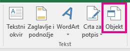 Mogućnost Objekt na kartici Umetanje.