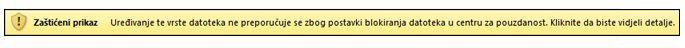 zaštićeni prikaz zbog blokiranja datoteke, korisnik može uređivati datoteku