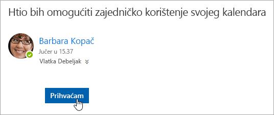 Snimka zaslona gumba Prihvati u poruci e-pošte s obavijesti o zajedničkom kalendaru.