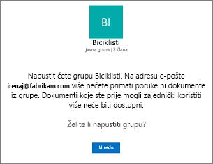 Poruke o potvrdi o napuštanje grupe