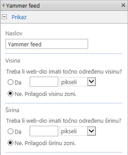 Screenshot of Yammer feed app part settings page with width and height sections highlighted