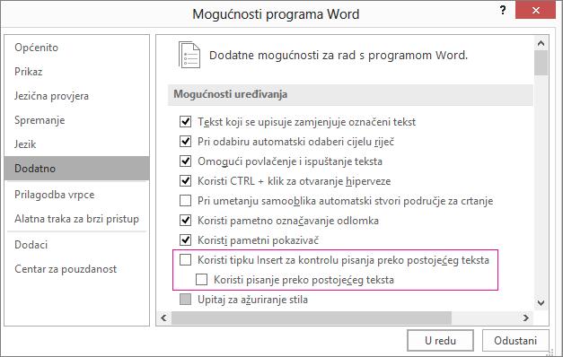 Dijaloški okvir Napredne mogućnosti programa Word u odjeljku mogućnosti uređivanja koristite potvrdni okvir način rada za pretipkati