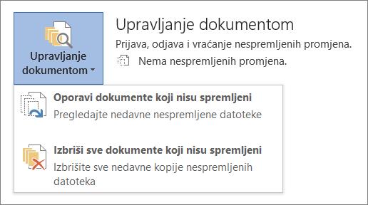Upravljanje dokumentima sustava Office 2016