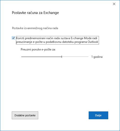 Dijaloški okvir Postavljanje računa na stranici Postavke računa sustava Exchange.