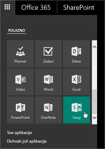 Snimka zaslona na kojoj se prikazuje okno s aplikacijama s aktivnom pločicom aplikacije Sway.