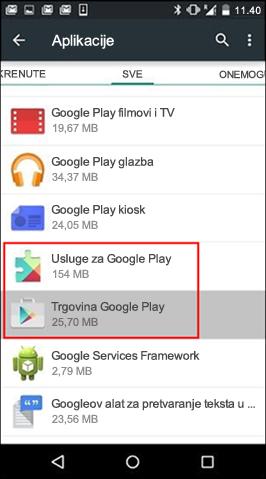 Čišćenje predmemorije aplikacije iz trgovine Google Play