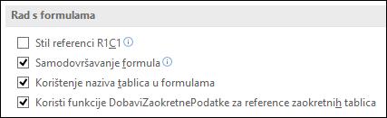 Datoteka > Mogućnosti > formule > rad s formulama > stil reference R1C1