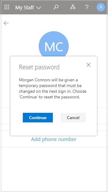 Ponovno postavljanje korisničke lozinke u aplikaciji Moje osoblje