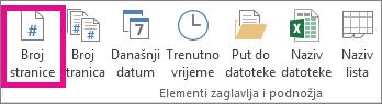 U grupi Elementi zaglavlja i podnožja kliknite Broj stranice