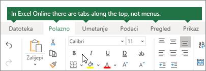 Početna stranica, umetanje, podaci, prikaz kartica u programu Excel za web