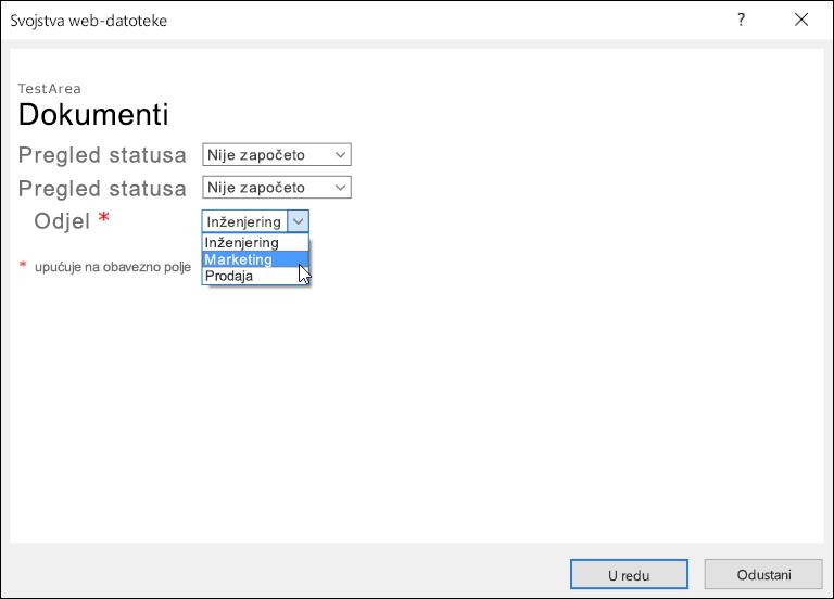 Dijaloški okvir sa svojstvima web-datoteke u kojem se u polju Odjel prikazuje popis s tri mogućnosti.