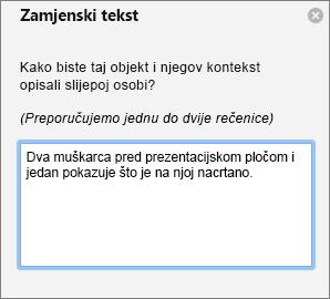 ALT tekstnog okna za dodavanje zamjenskog teksta za sliku u programu Outlook