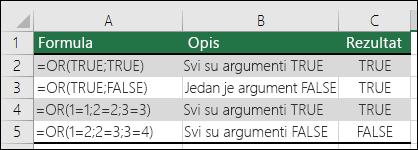 Primjeri korištenja funkcije OR.