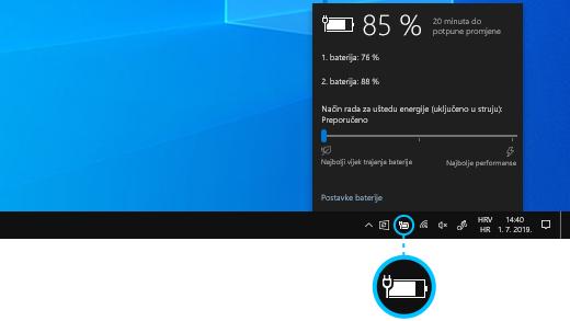 Status razine napunjenosti baterije uređaja Surface Book na programskoj traci radne površine.