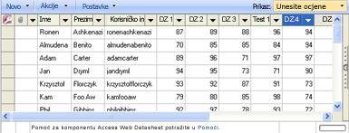 Podatkovni list Unos ocjene omogućuje ažuriranje ocjena.