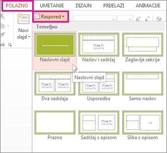 Rasporedi slajdova na kartici Polazno