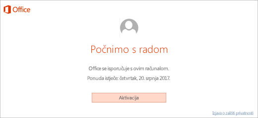 Prikazuje gumb Aktiviraj za aktivaciju sustava Office koji ste dobili s novim PC-jem