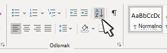 Sekcija odlomaka u programu Word s sortiranjem