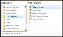 Alat za odabir web-dijelova omogućuje pristup web-dijelu Poslovni zadaci koji želite umetnuti.