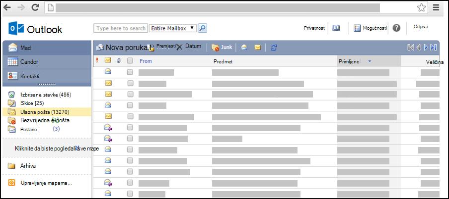 Snimka zaslona ulazne pošte u pojednostavnjenoj verziji aplikacije Outlook Web App