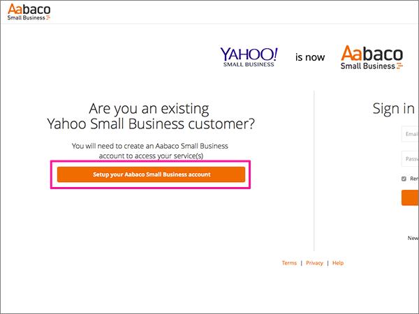 Kliknite Postavljanje računa za Aabaco Small Business
