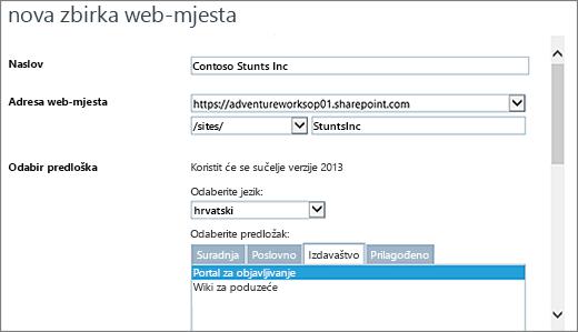 Istaknuta na gornjem dijelu pomoću portala za objavljivanje novi dijaloški okvir zbirka web-mjesta