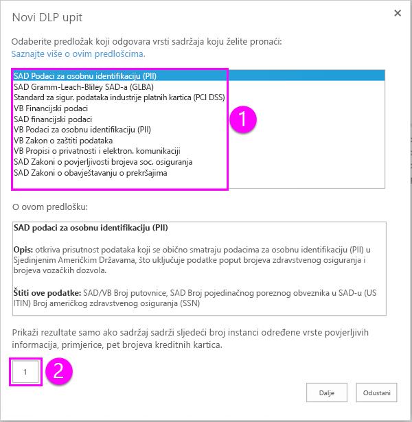 Predlošci pravila DLP uz mogućnost minimalnu count