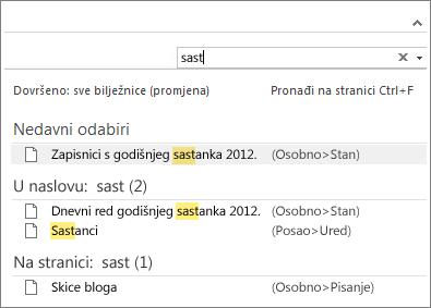 Pomoću okvira za pretraživanje potražite bilješke bilo gdje u programu OneNote.