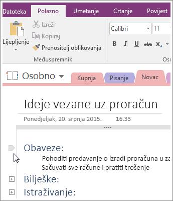 Snimka zaslona kako sažeti strukturu u programu OneNote 2016.