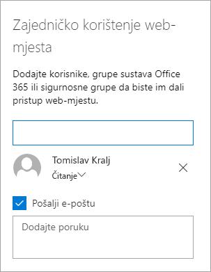 Dodavanje osoba u oknu za zajedničko korištenje web-mjesta
