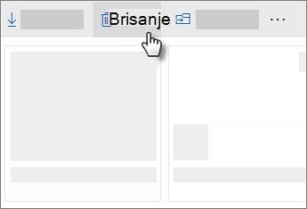Snimka zaslona s brisanjem datoteke na servisu OneDrive