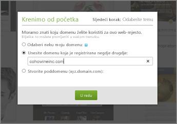 U odjeljku Pripremne radnje na servisu GoDaddy upišite domenu registriranu na nekom drugom web-mjestu