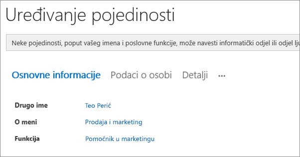 Snimka zaslona stranice Uređivanje pojedinosti za korisnika na servisu Yammer.