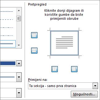 Okvir Pretpregled za prikaz obruba stranica