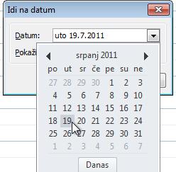 Idi na datum dijaloški okvir s datumski Navigator