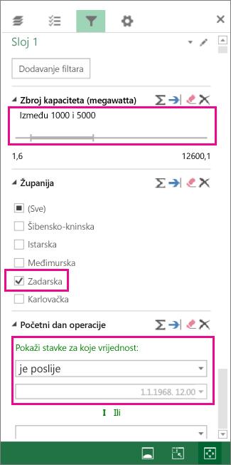 Filtri za brojeve, tekstne vrijednosti i datume
