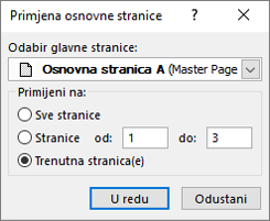 Snimke zaslona prikazuje dijaloški okvir Primijeni osnovnu stranicu.