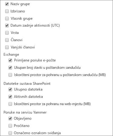 izvješće o grupama sustava Office 365 – odabir stupaca