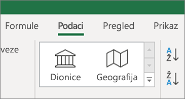 Kartica Podaci s prikazanim vrstama podataka Dionice i Geografski podaci