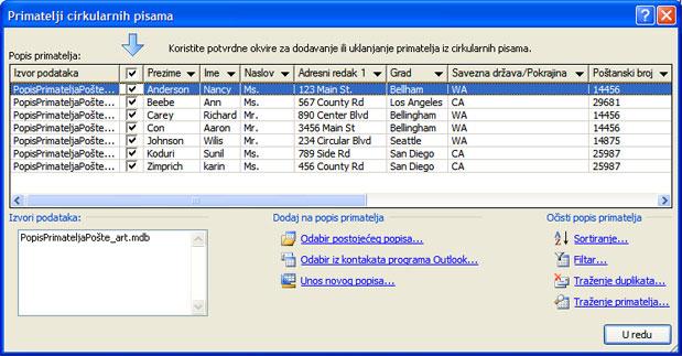 Osnovni popis primatelja u dijaloškom okviru Primatelji cirkularnih pisama.