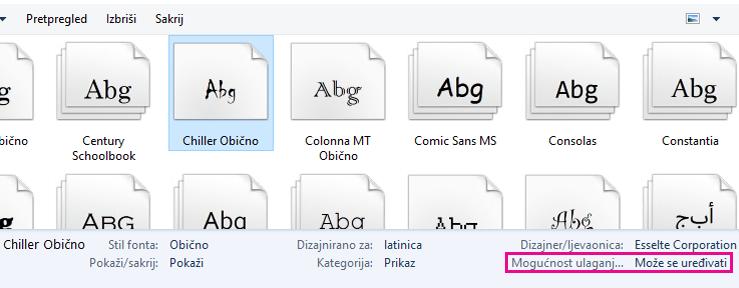 Ugradnja fontova zaslona 2
