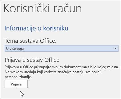 Snimka zaslona koja prikazuje informacije o računu u programu Word
