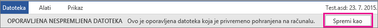 Spremanje oporavljene datoteke sustava Office 2016