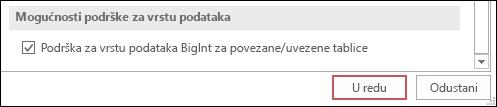 Snimka zaslona s vrstom podrške za bigint za mogućnost povezanih/uvezenih tablica odabranu u mogućnostima programa Access