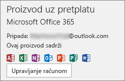 Prikazuje račun e-pošte povezan sa sustavom Office