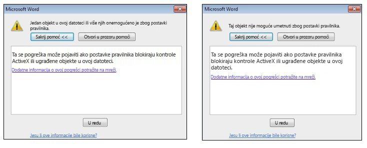 Poruka o pogrešci ugrađenog objekta ili ActiveX kontrole