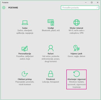 Postavljanje ažuriranja sustava Windows u sustavu Windows 10